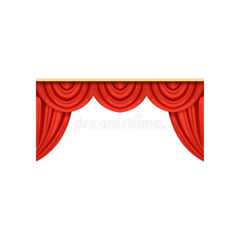Symbol av röda silke- eller sammetgardiner och kornischer för teater- eller cirkusetapp Designbeståndsdel för inregarnering vektor illustrationer