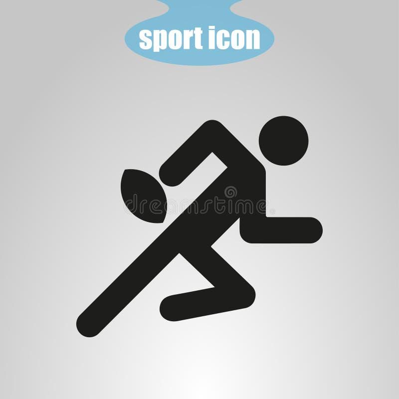 Symbol av rugbyspelaren på en grå bakgrund också vektor för coreldrawillustration royaltyfri illustrationer