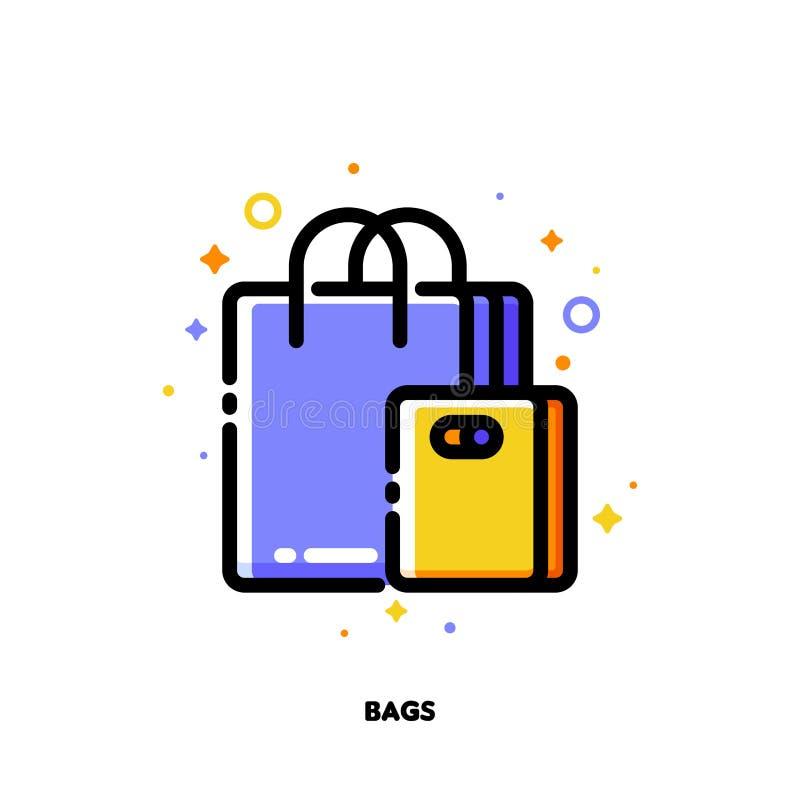 Symbol av shoppingpåsar för detaljhandel- och consumerismbegrepp L?genhet fylld ?versiktsstil PIXEL perfekt 64x64 Redigerbar slag vektor illustrationer