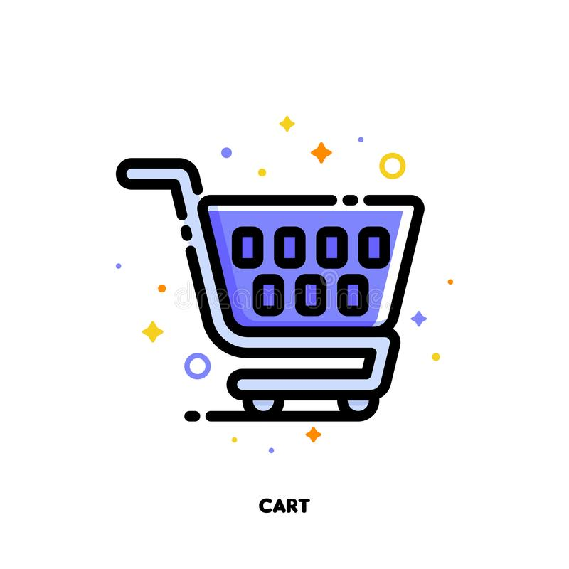 Symbol av shoppingvagnen för detaljhandel- och consumerismbegrepp L?genhet fylld ?versiktsstil PIXEL perfekt 64x64 Redigerbar sla royaltyfri illustrationer