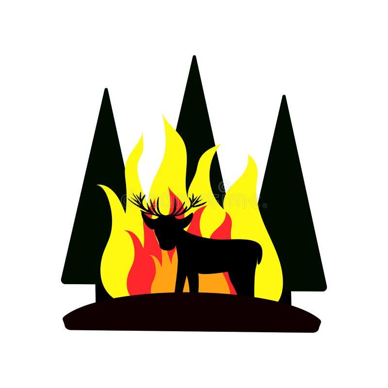 Symbol av skogsbrand med en hjort, vektorillustration för affischer royaltyfri bild