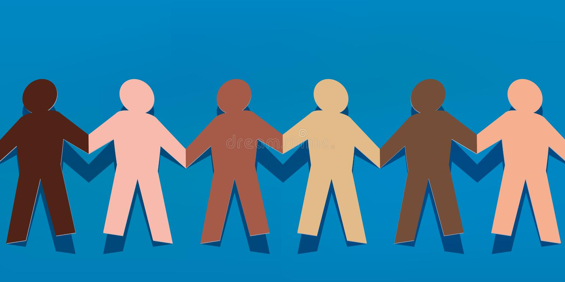 Symbol av solidaritet mellan folk med olika kulöra pappers- tecken som rymmer händer stock illustrationer