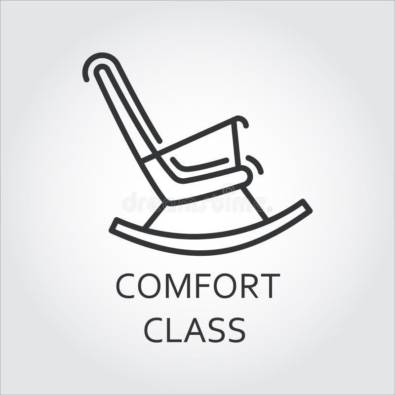 Symbol av stol som vaggar i översiktsstil Komfortgruppbegrepp royaltyfri illustrationer