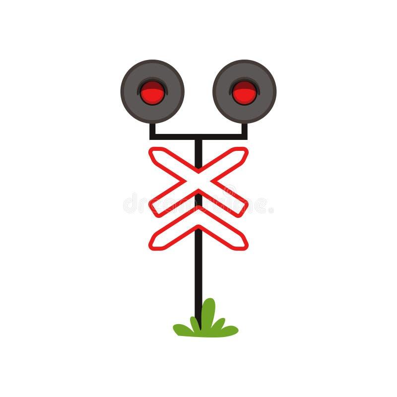 Symbol av tecknet för järnväg varning med ljus Röd prohibitiv signal Plan vektordesign för den infographic affischen, mobil app vektor illustrationer