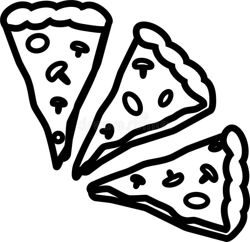 Symbol av tre stycken av pizza med tomater, ost och champinjoner stock illustrationer