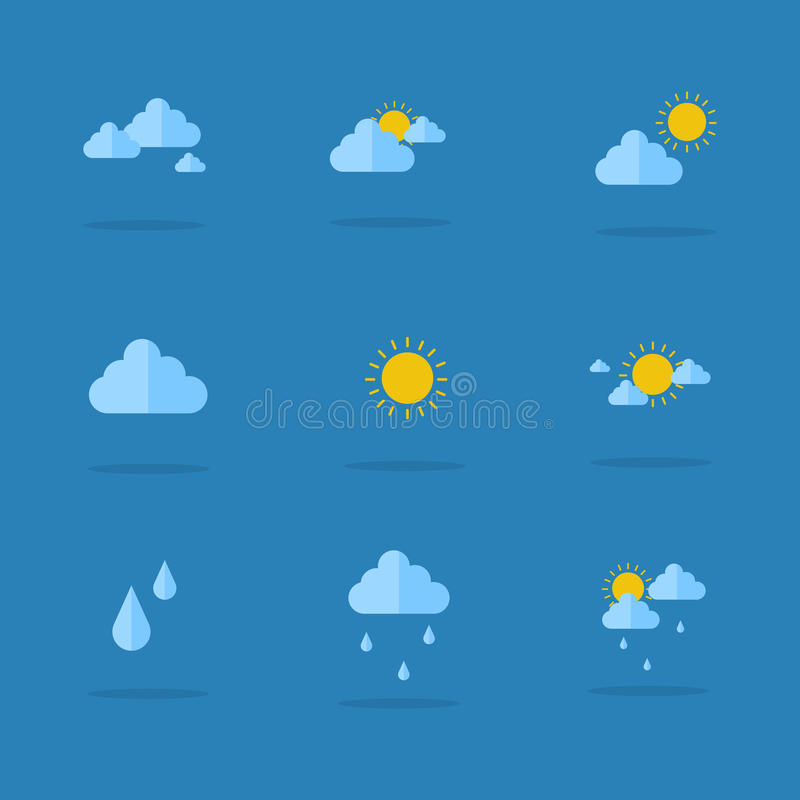 Symbol av väderuppsättningsamlingen royaltyfri illustrationer