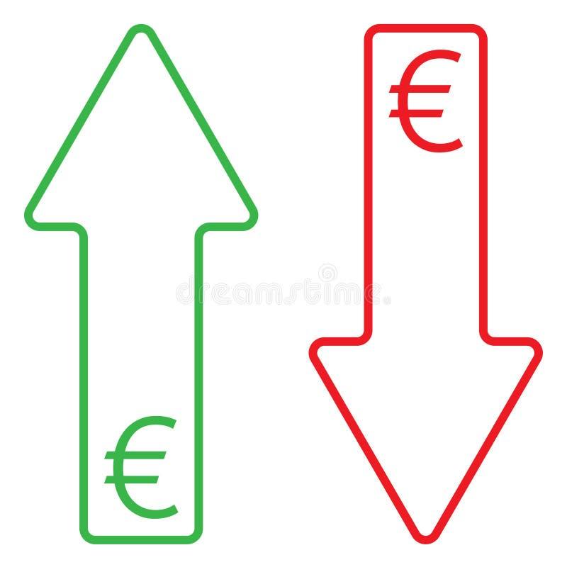 Symbol av växande och fallande färg för euro vektor illustrationer