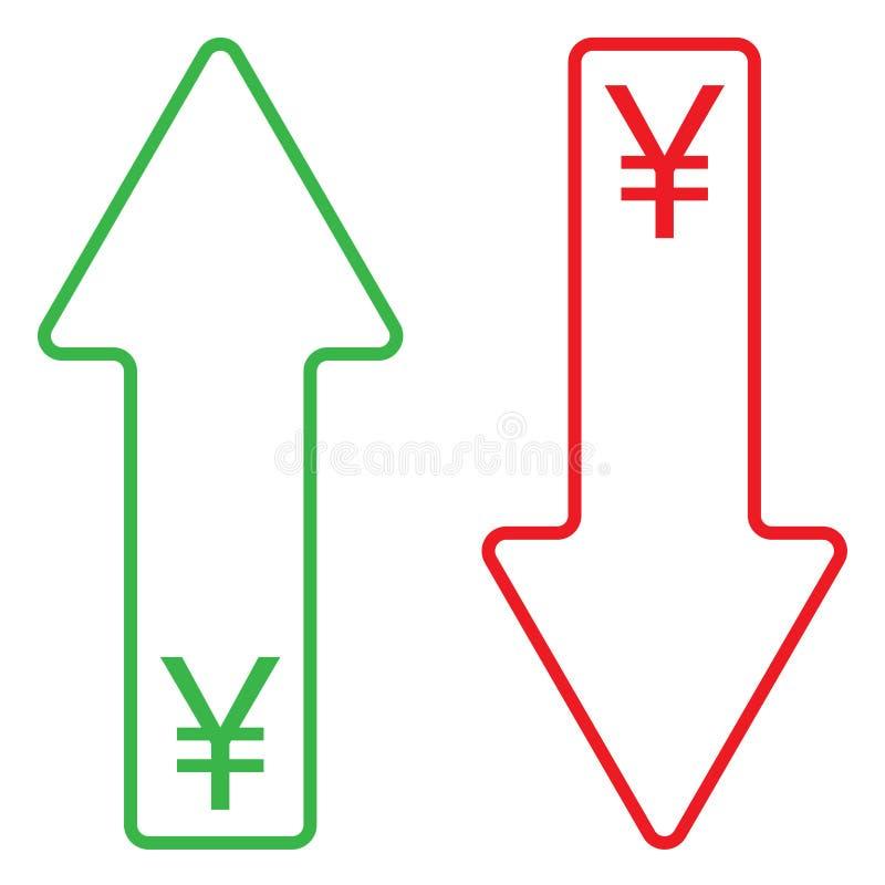 Symbol av växande och fallande färg för yuan stock illustrationer
