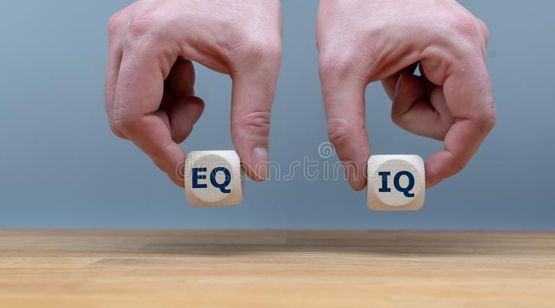 Symbol of the balance between emotional intelligence and the intelligence quotient. stock photos