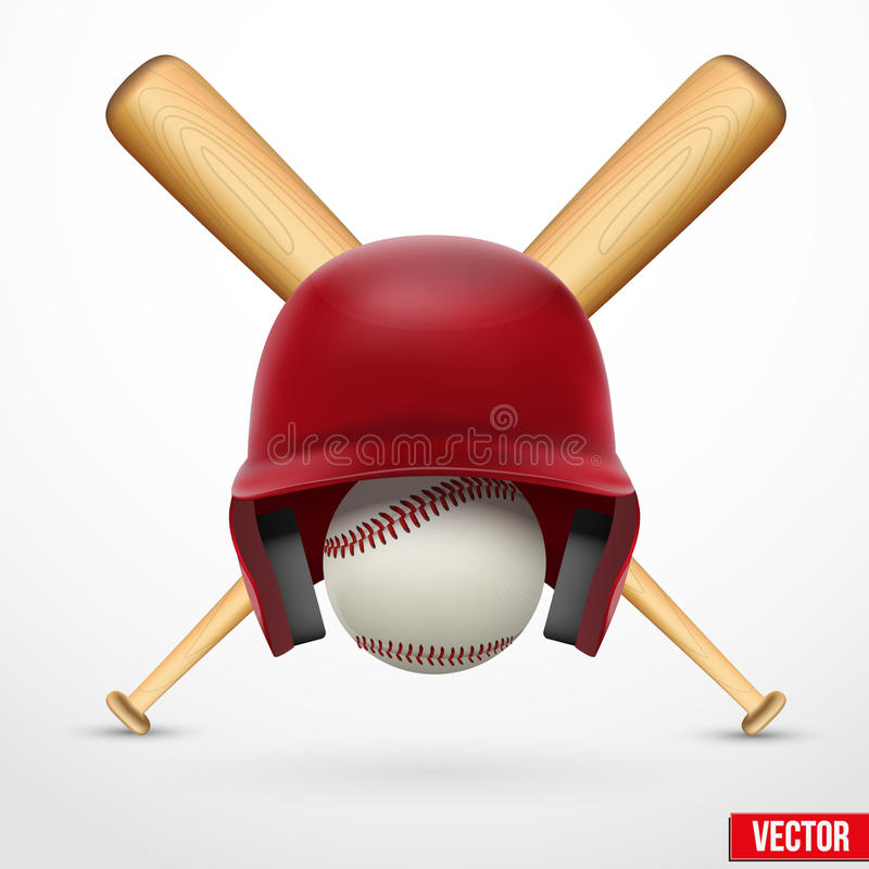 Symbol baseball. Hełm, piłka i dwa nietoperza. Wektor. ilustracji