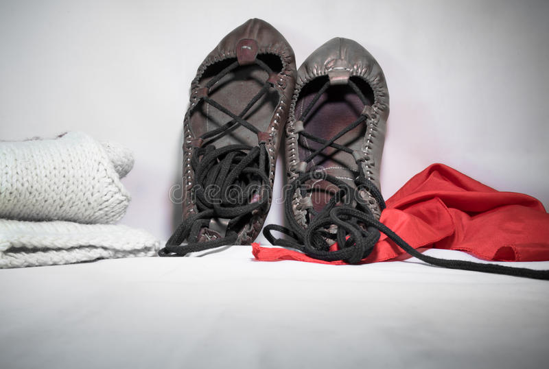 Symbol of basque country local music festival coming up - man and woman abarka shoes and accessories on white background design mo. Symbol of basque country royalty free stock photos