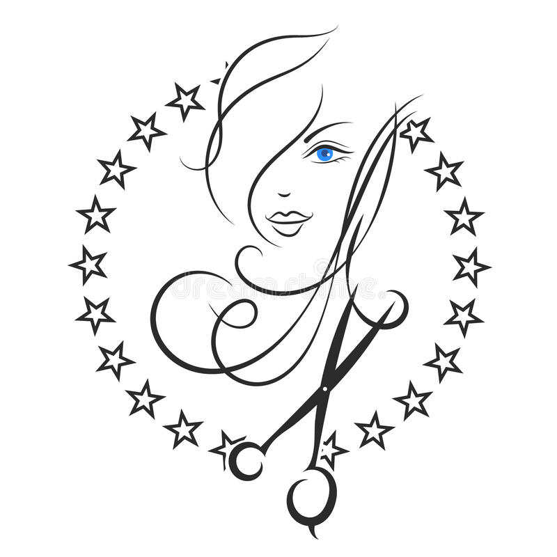 Symbol of Beauty and hair salon. Beauty salon and barber shop business symbol royalty free illustration
