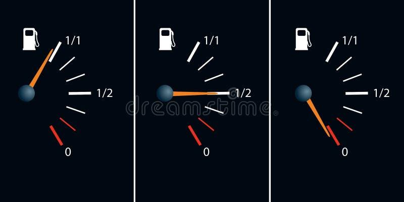 Symbol benzyny awaria z igłą pokazuje pustego zbiornika, royalty ilustracja