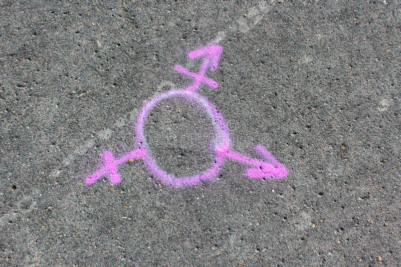 Symbol of bisexuality. Sign painted on asphalt paint,community stock photos