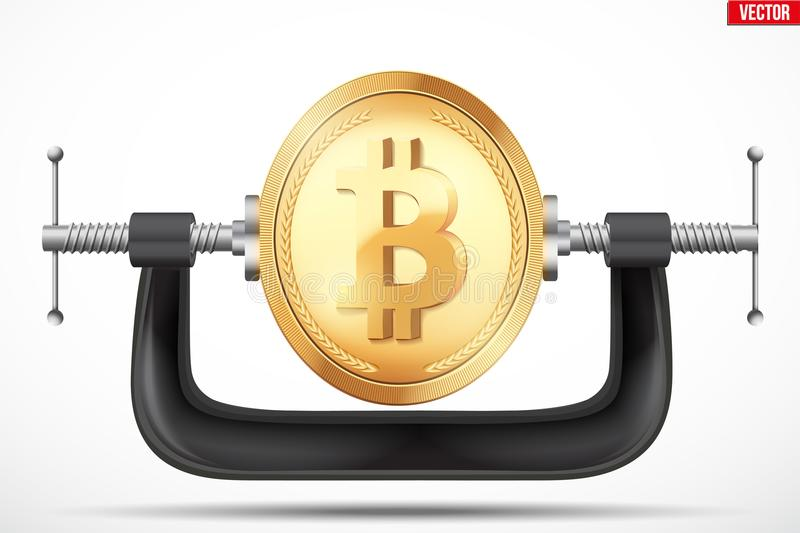 Symbol of bitcoin being squeezed in a vice stock illustration