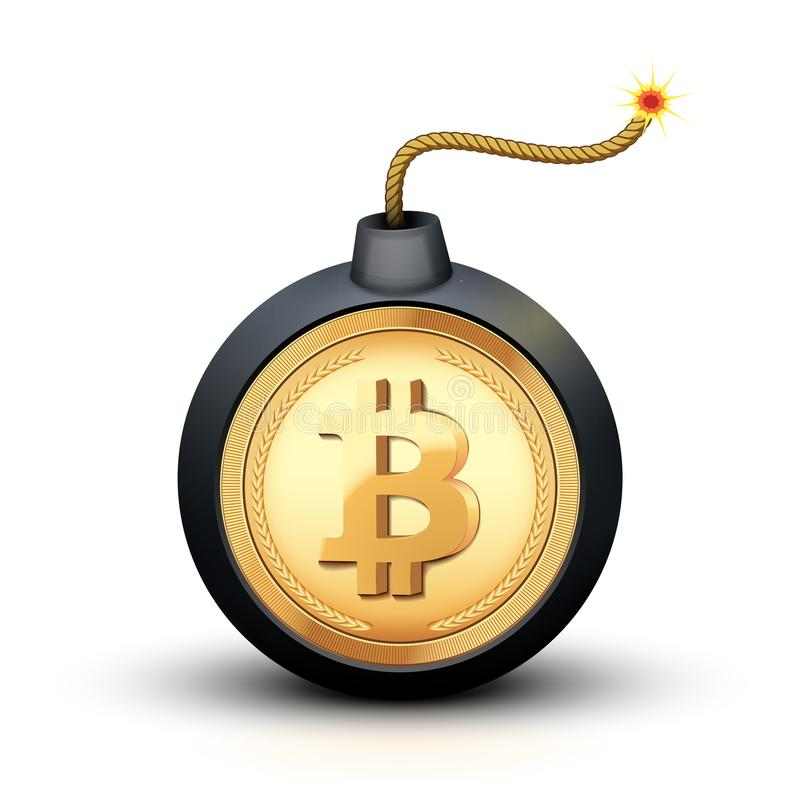Bitcoin bomb symbol vector illustration