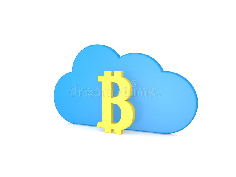 Symbol of bitcoin and cloud on a white background . vector illustration