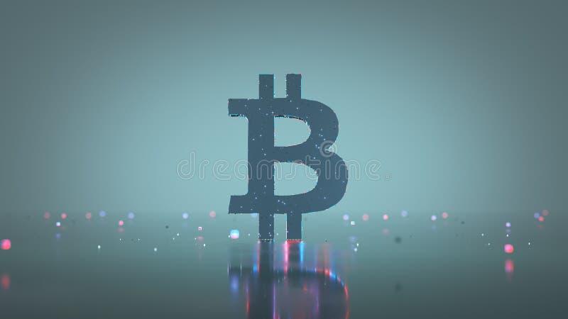 Symbol of Bitcoin digital currency 3D rendering stock illustration