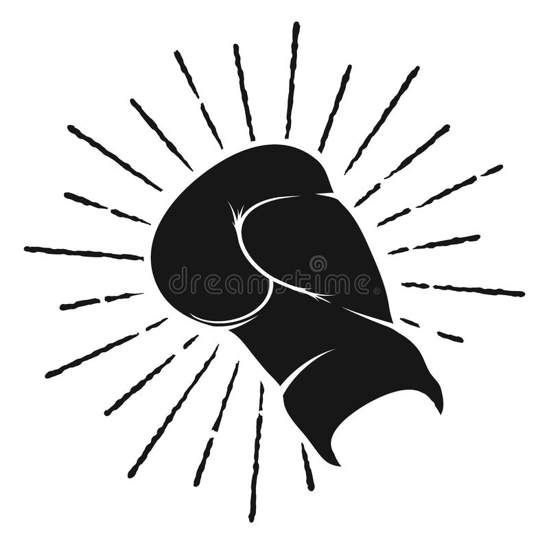 Symbol of boxing glove. Isolated on white background.Silhouette.Vector sign royalty free illustration
