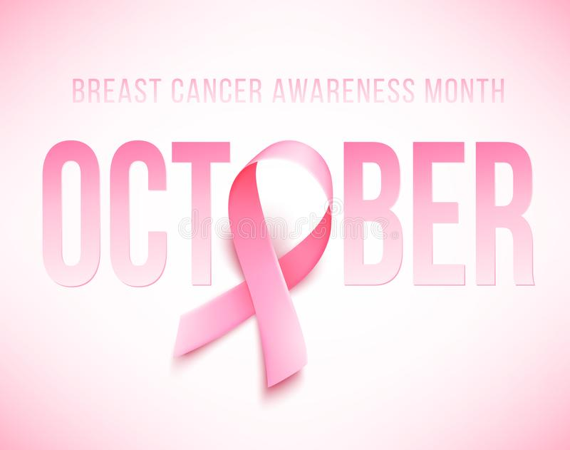 Symbol of Breast cancer awareness month in october. Realistic pink ribbon. stock illustration
