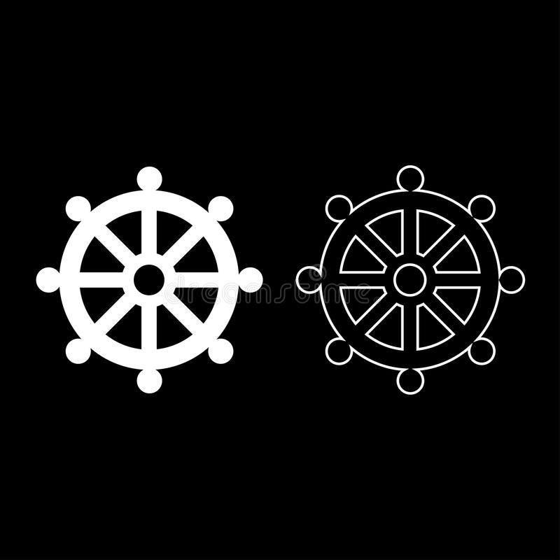 Symbol budhism wheel law religious sign icon set white color illustration flat style simple image stock illustration