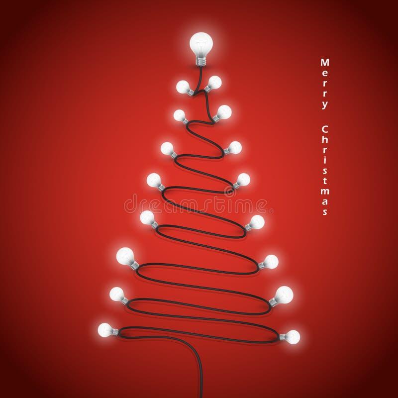 Symbol bunten Glühlampen und des Weihnachtsbaums Frohe Weihnachten stock abbildung