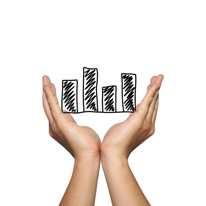 Symbol of business bar graph on man hand in concept of presentation or advertising support your organization. Symbol of business bar graph on man hand in stock photography