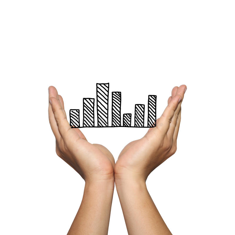 Symbol of business bar graph on man hand in concept of presentation or advertising support your organization. Symbol of business bar graph on man hand in stock image