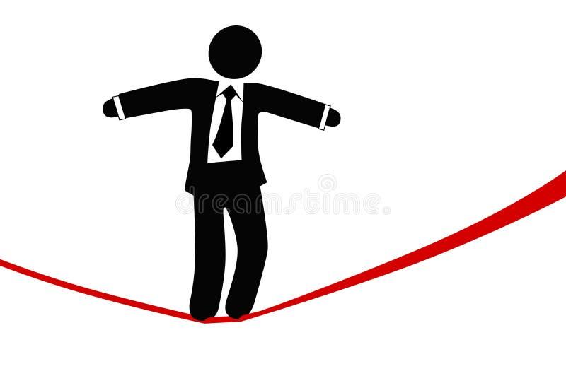 Symbol business man walks on danger risk tightrope