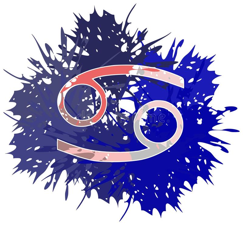 Symbol of cancer sign made with spots isolated. Image representing the symbol of grab zodiac sign planet on a background. An image that can be used in different royalty free illustration