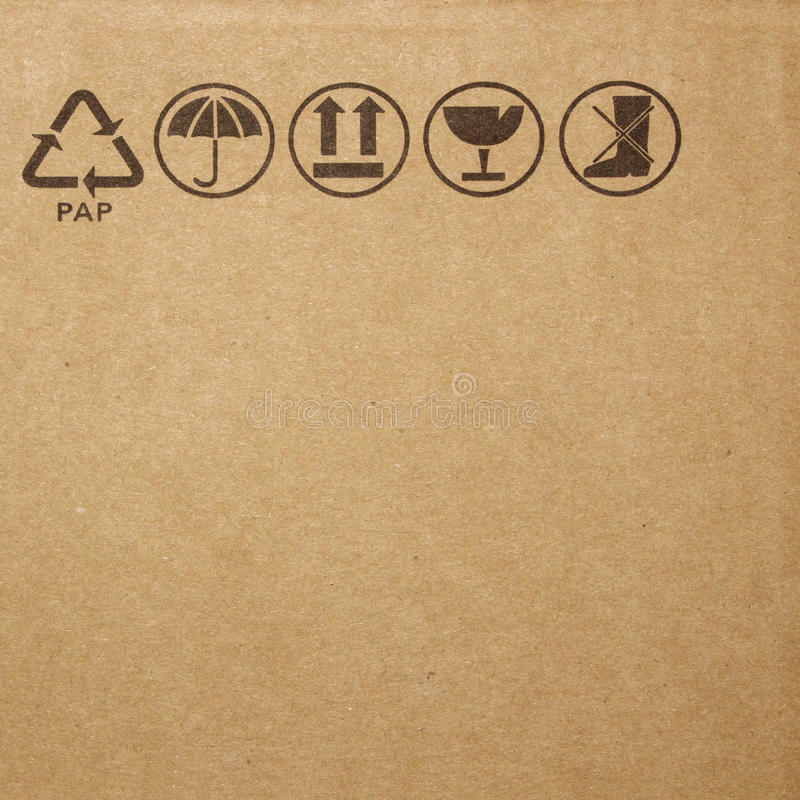 Symbol on cardboard stock photo