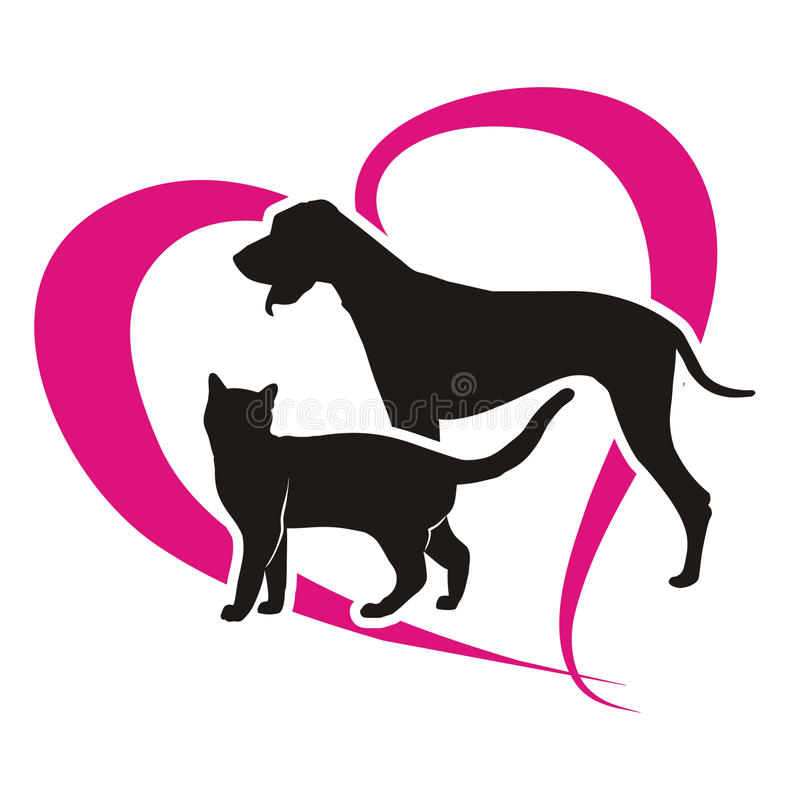 Symbol cat and dog. Against the background of the heart vector illustration