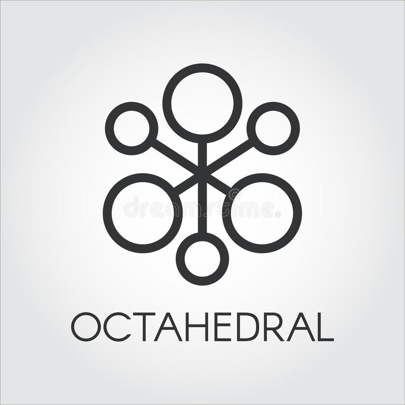 Symbol Of Chemical Compound Or Octahedral Molecule Icon Stock Vector
