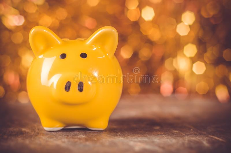 Symbol of 2019 chinese new year yellow ground pig on holiday festive background stock photography