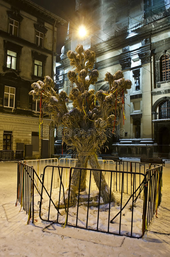Symbol of Christmas - Didukh, in the center of Lviv city