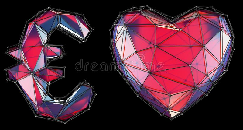 Symbol collection euuro and heart made of red glass. Collection symbols of low poly style red color glass isolated on royalty free illustration