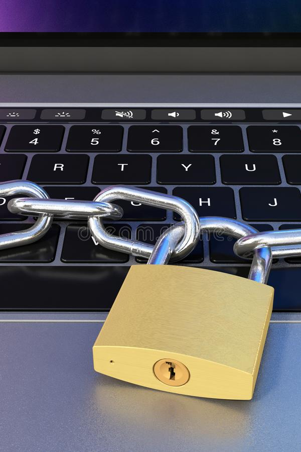 Computer keyboard locked with padlock and chain - security. Symbol for computer data security and privacy, metaphorically represented by a laptop computer stock illustration