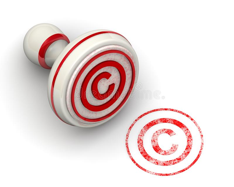 The symbol of copyright protection. Seal and imprint vector illustration