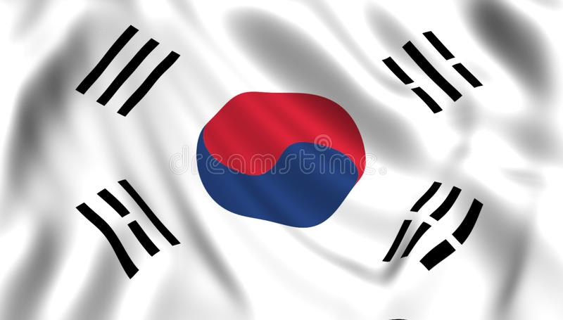 Flag south korea waving in the wind silk vector illustration
