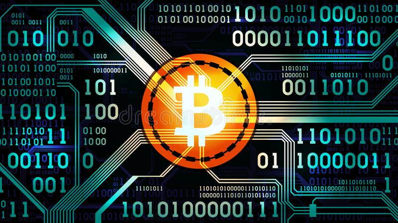 Symbol Of Crypto Currency Bitcoin On The Background Of Binary Code ...