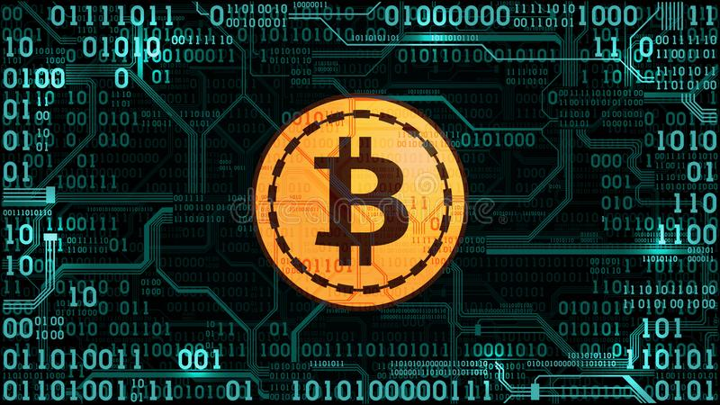 Symbol of crypto currency bitcoin on the background of binary code and printed circuit board vector illustration