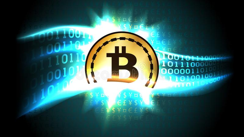 Symbol of cryptocurrency bitcoin exchanges currency signs for binary code. Well organized layers vector illustration