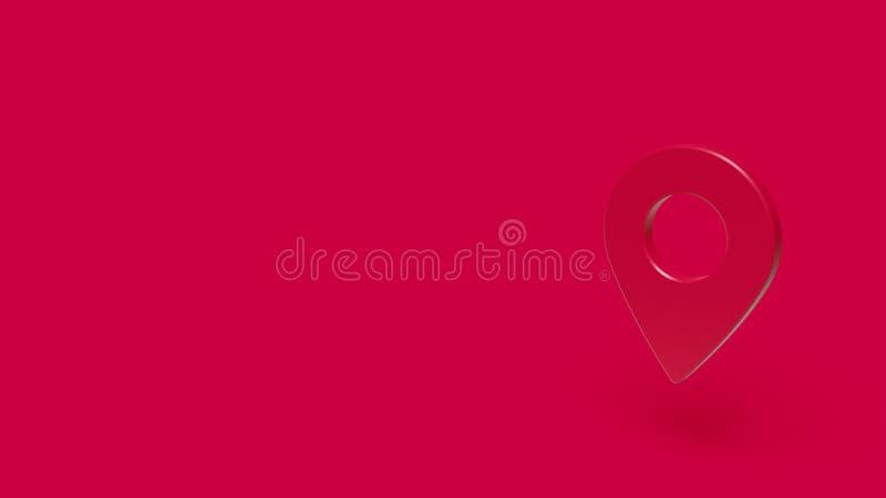 symbol 3D av översiktsstiftet med röd bakgrund arkivbild