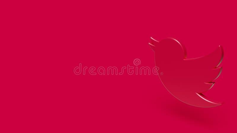 symbol 3D av fågeln med röd bakgrund royaltyfri fotografi