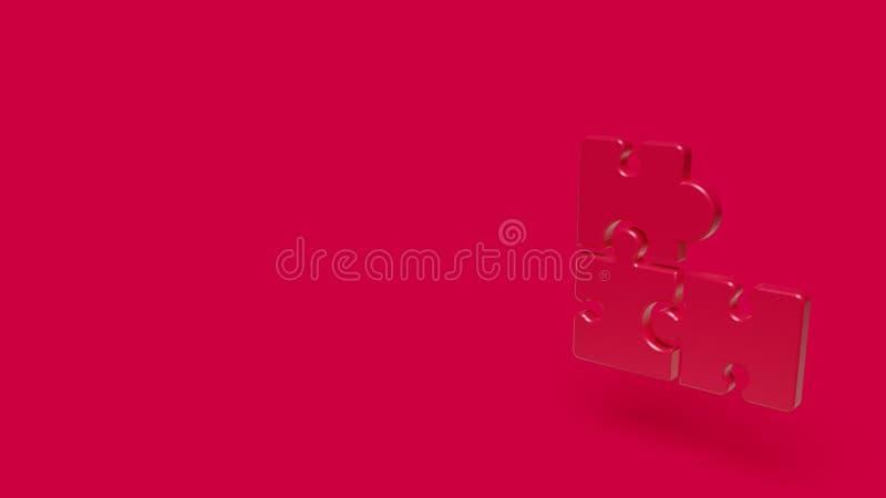 symbol 3D av pusslet med röd bakgrund royaltyfri illustrationer
