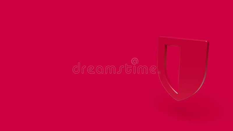 symbol 3D av skölden med röd bakgrund arkivfoto