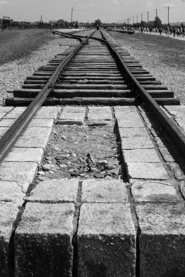 Symbol of the death camp. Gate of Death in Birkenau. Distribution platform. Rails in the Auschwitz-Birkenau concentration camp. Crime of the Nazis during the war stock images