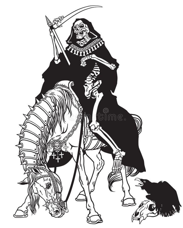 Symbol of death sitting on a horse royalty free illustration