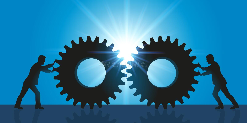 Symbol der Annäherung und der Partnerschaft zwischen zwei Firmen vektor abbildung