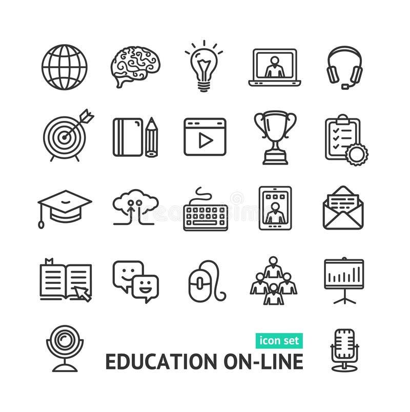 Symbol der Bildungs-online Schwarz-dünnen Linie Ikonen-Satz Vektor stock abbildung
